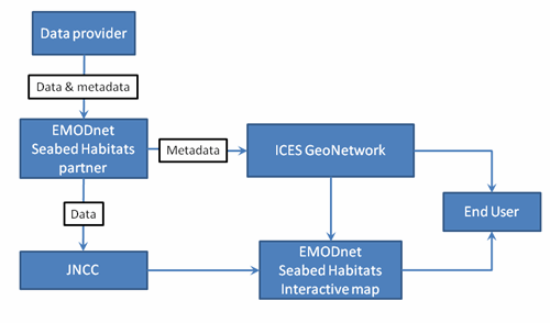 Flow diagram describing data contribution to EMODnet Seabed Habitats